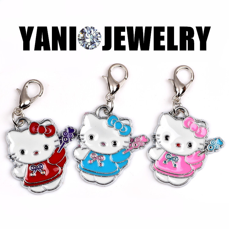 20pcs/lot Free Shipping Colorful Enamel Hello Kitty Charms Cut Cat Floating Pendant Charms For Living Locket Necklace(China (Mainland))