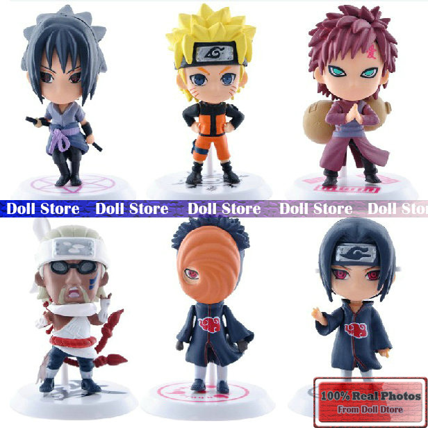 Wholesale price 6pcs/lot 7cm PVC Naruto action figure set Q Edition Toy Collection Naruto japanese anime figures Model toy Set(China (Mainland))