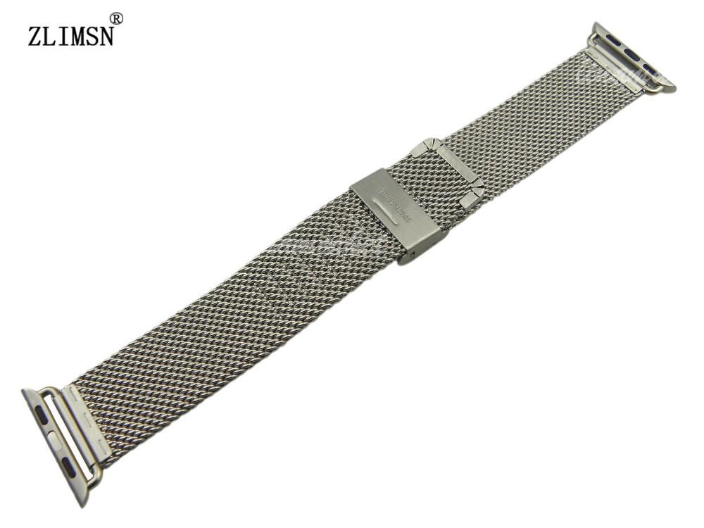ZLIMSN 38 мм 42 мм Миланской Магнитная Петля Из Нержавеющей Стали Ремешок Смотреть Полосы для часы Ремешок Для Часов