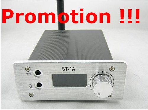 Promotion !!! 1W ST-1A FM stereo PLL radio broadcast transmitter 87-108Mhz 0.1W to 1.2W only 69USD including shipping cost(China (Mainland))