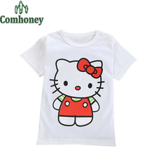 Hello Kitty T-shirts for Boys Girls Summer Baby Cotton Monkey Duck Mouse Lion Cartoon Cute T Shirt Bobo Top Children Clothing
