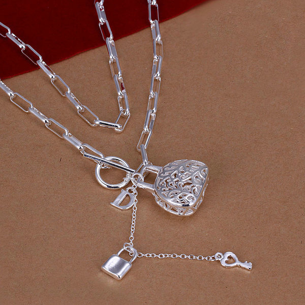 N044 Hot Selling Promotion,925 Sterling Silver Bag Lock Key Beautiful Necklace&Pendant Fashion Jewelry Wholesale Price(China (Mainland))
