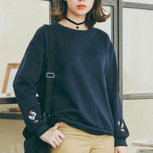 Sudaderas Mmujer 2015 Korean Harajuku Loose Sweatshirt Women Cartoon Embroidery Plus Velvet Long Sleeve Hoodies Female Pullover(China (Mainland))