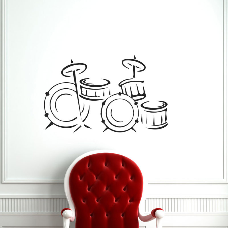 Music Instrument Drum Wall Stickers Home Decor Kids Bedroom Wall Decals Vinyl Art Stickers