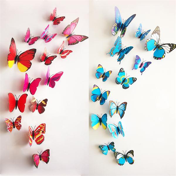 Wall & refrigerator decoration stereo butterfly 12 PCS/Lot wall stickers home decor free glue ETH001 3D wall stickers(China (Mainland))