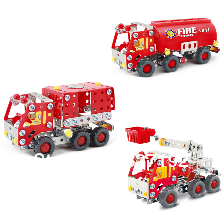 2015 New 3d Diy Assembly Alloy Combined Educational Toys Nut Combination Assembling Fire Fighting Truck Model Toys For Children(China (Mainland))