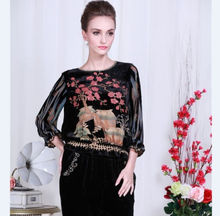 2015 new style 100% mulberry silk Chinese Women's  traditional Tops/ shirt Black hot sale  Sz: L XL XXL XXXL XXXXL(China (Mainland))