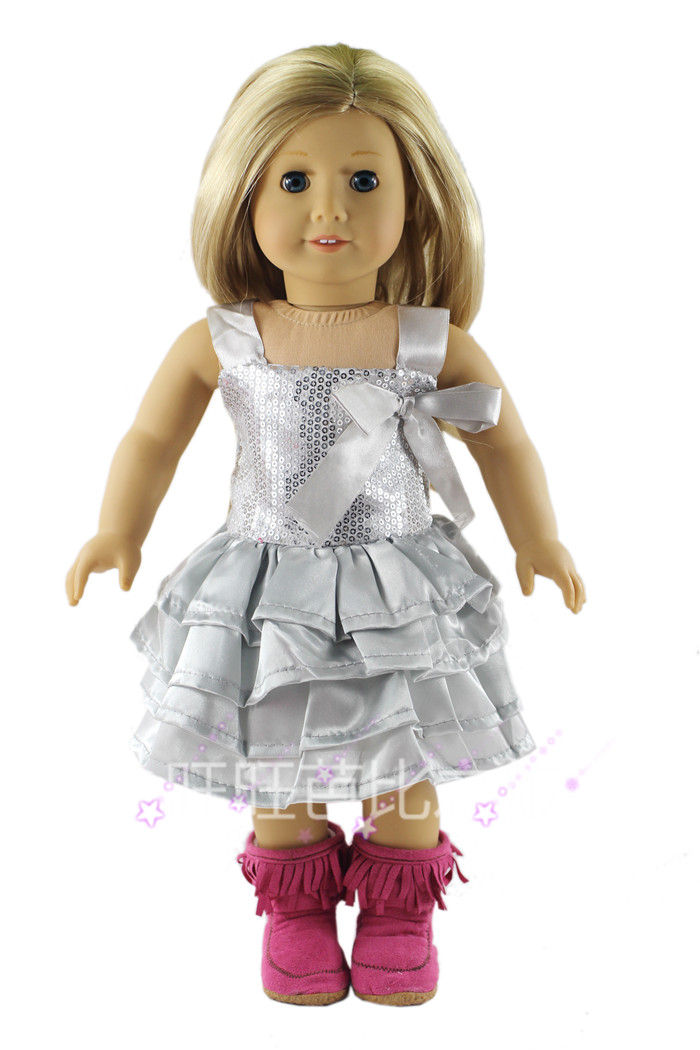 2015 Real Hot Sale Accessories Girls Cloth American Girl Doll Doll Clothes For 18'' American Girl Handmade Sequin Princess Dress(China (Mainland))