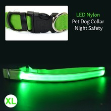 Colorful LED Nylon Pet Dog Collar Night Safety LED Light-up Flashing Glow In The Dark Electric LED Pets Cat & Dog Collar S-XL(China (Mainland))