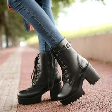 thick heel platform ankle boots 2015 new women booties fashion lace up riding combat boots plus size dropshipping(China (Mainland))