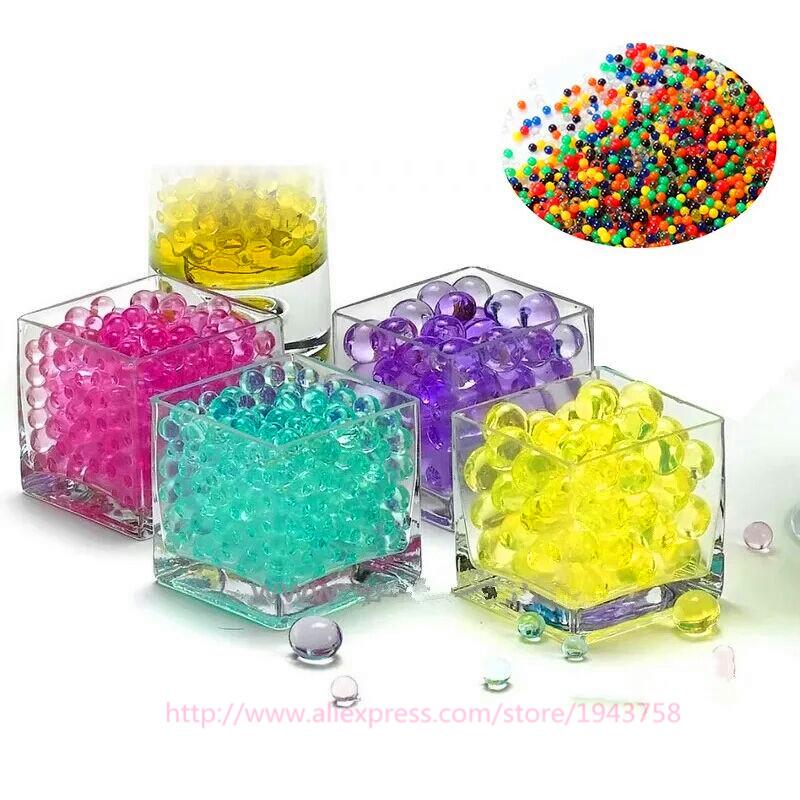 100 pcs Pearl Shaped Crystal Soil Water Beads Mud Grow Magic Jelly Balls Home Decor Aqua Soil Wholesales hydrogel(China (Mainland))