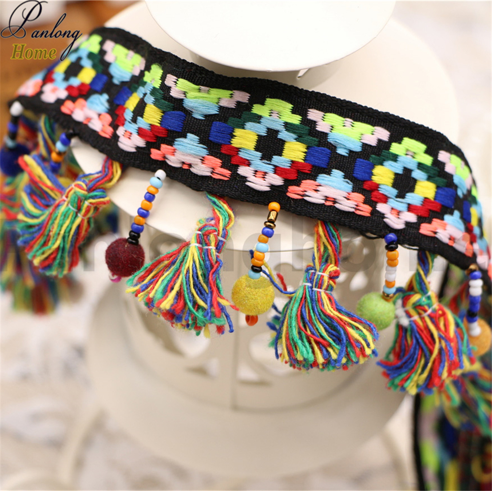 Panlonghome 2017 new folk style Ribbon Dance Hand Beaded hair ball hair fringed garment accessories lace Necklace(China (Mainland))