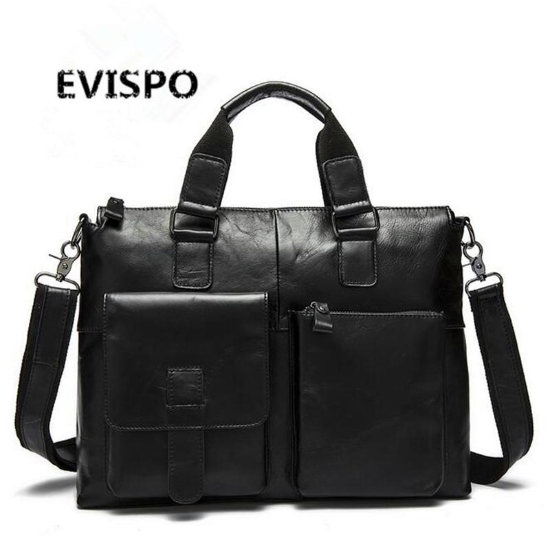 EVISPO Genuine Leather Men Briefcase Man Bags Business Laptop Tote Bag Men's Crossbody Shoulder Bag Men's Travel Bags HB37(China (Mainland))