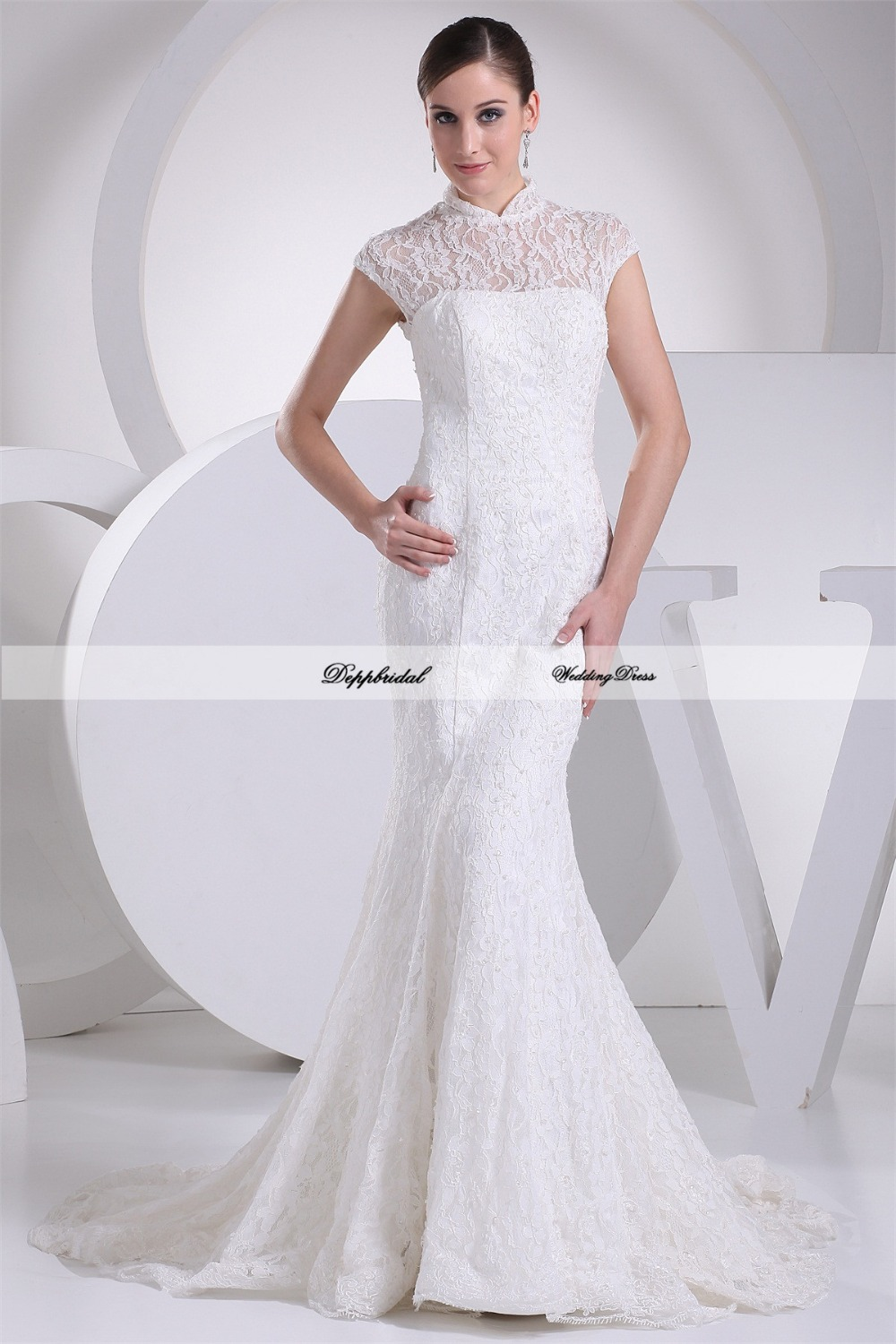 Wholesale wedding dress lace high neck mermaid beading for Lace wedding dresses plus size