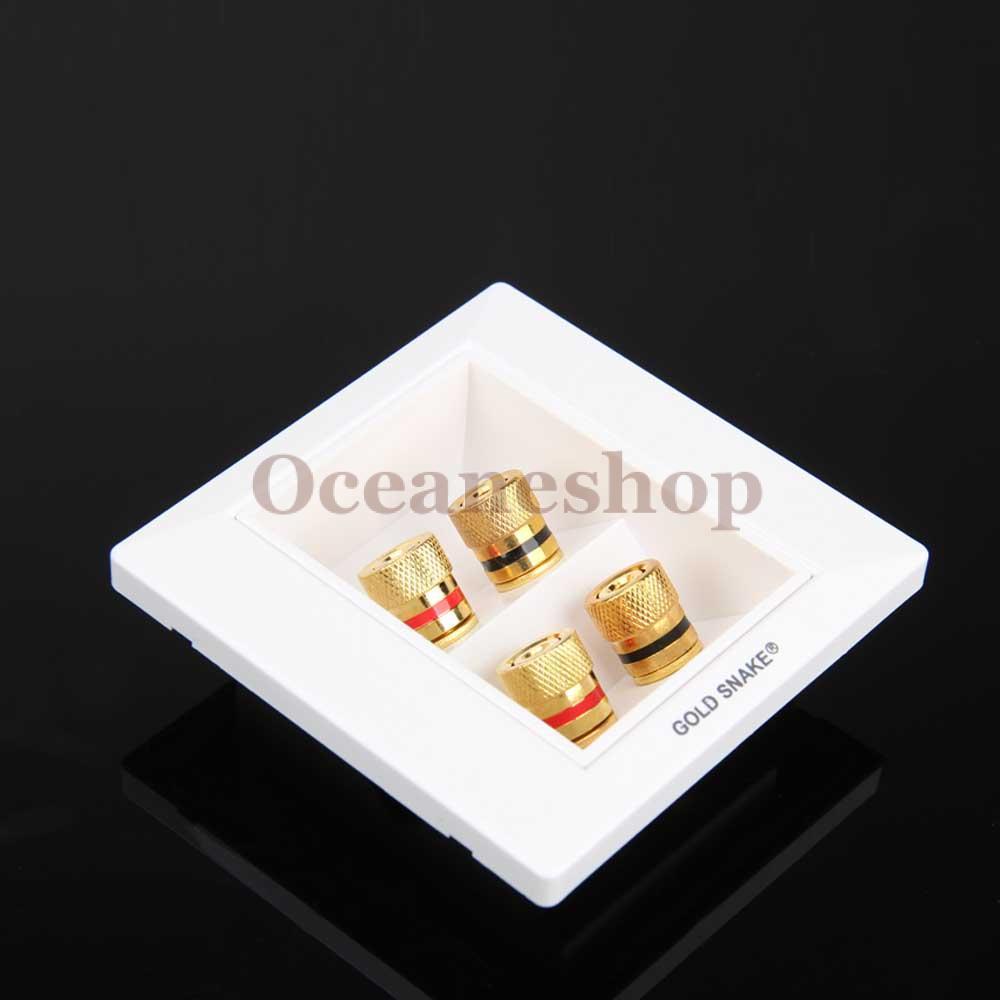 OCEA 86x86mm Speaker 4 Binding Post Banana Jack Wall Face Plate Panel White(China (Mainland))