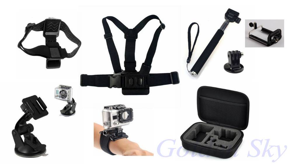 Go Pro Sj4000 Accessories Chest Head Wrist Belt Monopod Selfie Stick Adapter