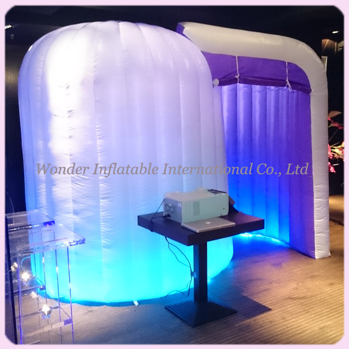 Popular round photo booth with LED lighting portable inflatable photo booth for wedding(China (Mainland))
