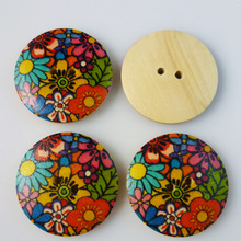 35PCS 18MM flower Pattern painting wooden buttons sewing clothes boots coat accessories MCB-185(China (Mainland))