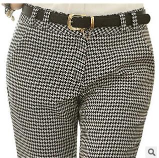 2015 Spring Summer Autumn Женщины Slim Повседневный Pant Work Wear Career Houndstooth ...