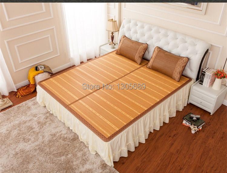 Bamboo mat folding double faced mats queen size king size rattan summer bed mat mattress cover pillowcase on sales(China (Mainland))