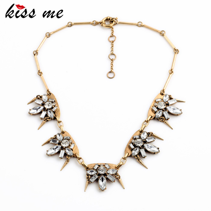Vintage Created Crystal Flower Rivet Perfume Women Choker Necklace 2015 Famous Brand Jewelry(China (Mainland))