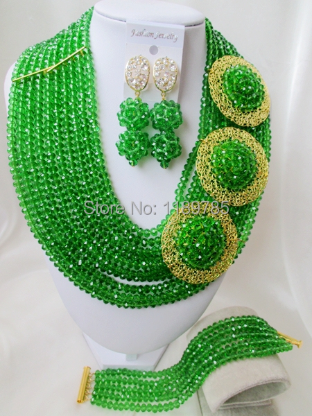 Fashion Nigerian African Wedding Beads Jewelry Set , Green  Crystal Necklace Bracelet Earrings Set A-8629<br><br>Aliexpress