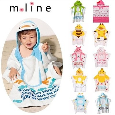 2015 Cartoon animal Character Designs Hooded modeling Baby Bathrobe /beach Towel /toallas playa kids/infant towels,boys or girls(China (Mainland))