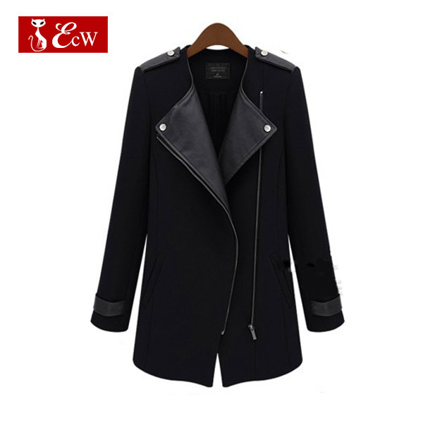 ECW Jackets Women Autumn Spring Woolen Coat For Woman Fashion Long Sleeve PU Leather Jacket Casual Slim Outerwear Plus Size 5XL(China (Mainland))