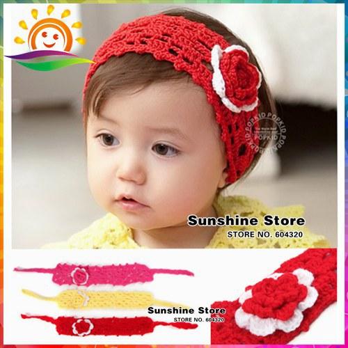 Sunshine store #3C2662 10 pcs/lot (3 colors)Cute baby arrive Headbands hairband headwear hand hook crochet knitted wool headband(China (Mainland))
