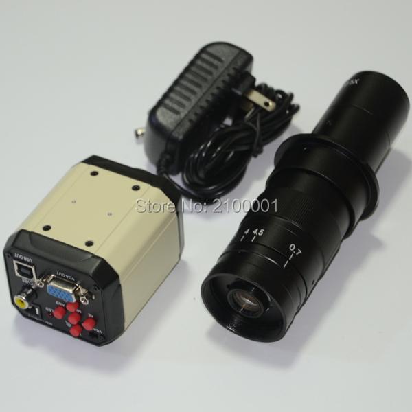 2.0MP HD Digital Industry Industrial Microscope Set Camera Magnifier VGA USB AV TV Video Output 180X C-MOUNT Glass Lens PCB Lab(China (Mainland))