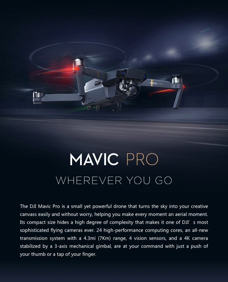 DJI Mavic Pro OcuSync Transmission FPV With 3Axis Gimbal 4K Camera Obstacle Avoidance RC Quadcopter Camera Drone