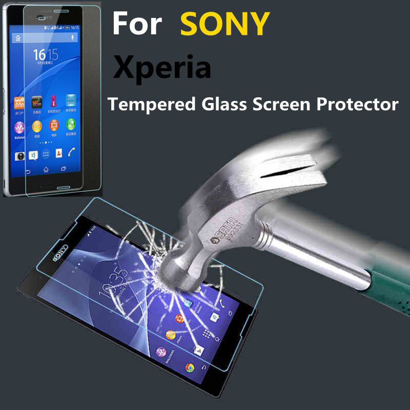 High Quality Ultra-thin Clear Real Tempered Glass Screen Protector  For Sony Xperia Z1 Z2 Z3 Z4 Compact M2 E3 C3 T2 T3(China (Mainland))