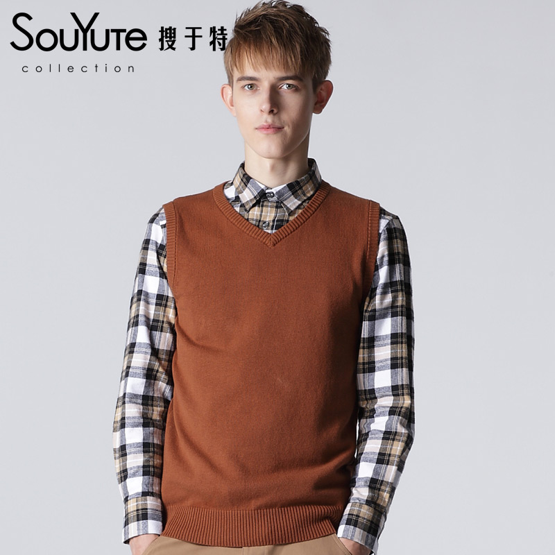 2015 Knitted sweater Mens' Pullover Sweater Vest V-Neck New Men's Sweater 100% Cotton Slim Class Vest Size: M-XXLB3OB67127(China (Mainland))