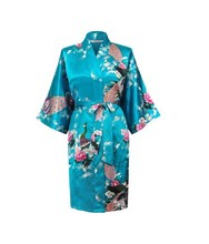 Satin Robe Sleepwear Silk Pajama Casual Bathrobe Animal Rayon Long Sexy Nightgown Women Kimono Sexy Lingerie Plus Size S-XXXXL(China (Mainland))