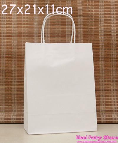 Wholesale 27x21x11cm white kraft Paper Bag 30pcs/lot Free shipping kraft shopping bag(Hong Kong)