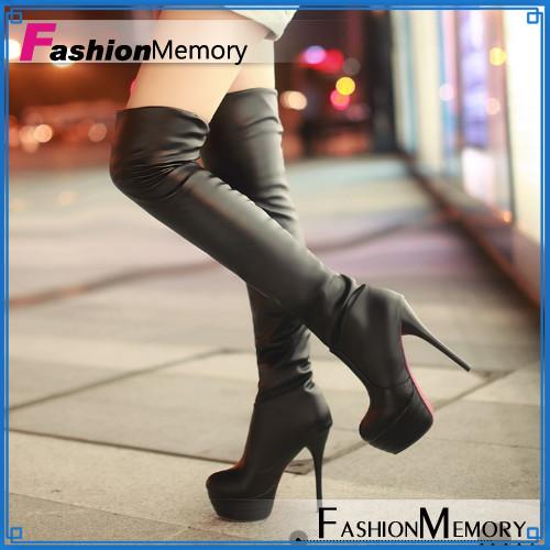 [해외]플러스 크기 34-43 여성 빨간색 바닥 신발은 무릎 높은 부츠 ..