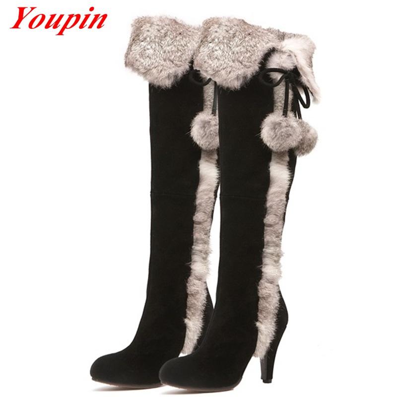 Matte Leather Over The Knee Boots  Black Rabbit Hair High Heel Boots High Heels Winter Boots Women Girl Lace Sheepskin Boots<br><br>Aliexpress