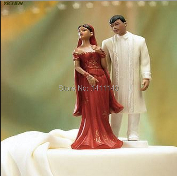 """dark skin"""" Indian Couple"""" Bride and Groom Wedding Cake Topper Figurines for cake decoration with free shipping(China (Mainland))"""