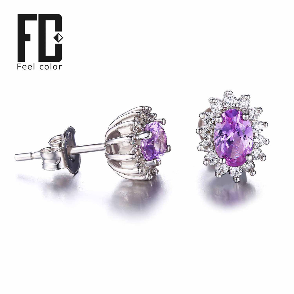 Fashion 2.5ct Alexandrite Sapphire Stud Earrings Princess Diana William Engagement Wedding Solid 925 Sterling Silver Gift Women(China (Mainland))
