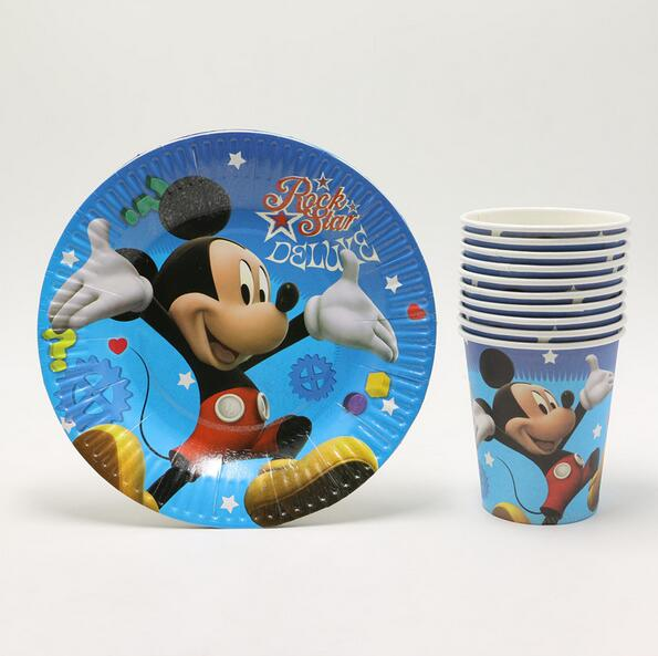 kids birthday party decoration 12 pcs plate+12 pcs cup for 12 person tablewear set cartoon mickey mouse theme festival decorate(China (Mainland))