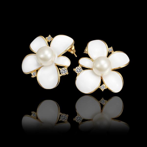 2014 New Fashion 18K Gold Plated Romantic Flowers shape Pearl rhinestone Stud Earrings Women E584 - IVAN JEWELRY CO.,LTD. store