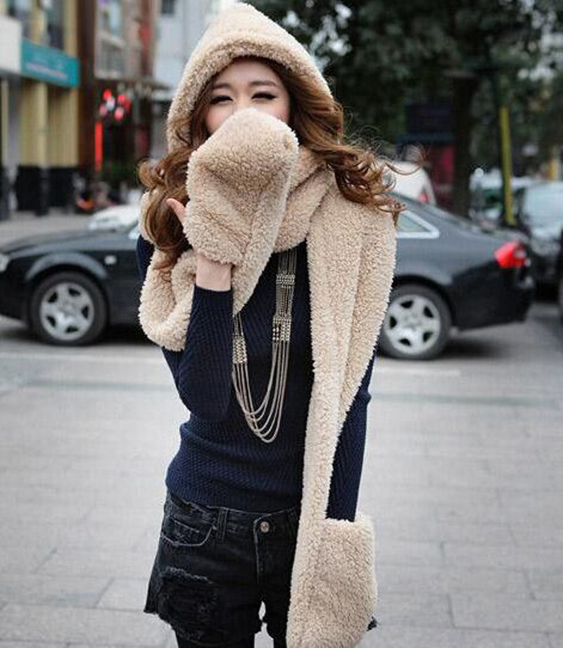 1 Piece New Cashmere Thicker Woman Hats Scarf Gloves One Set Of Three Winter Warmmer Fashion Caps Multicolor