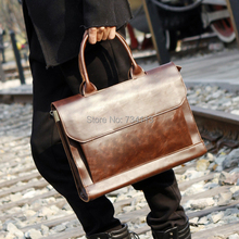 2015 new men's briefcase PU crazy horse leather tote high quality male cool shoulder bag vintage brown briefcase messenger bags(China (Mainland))