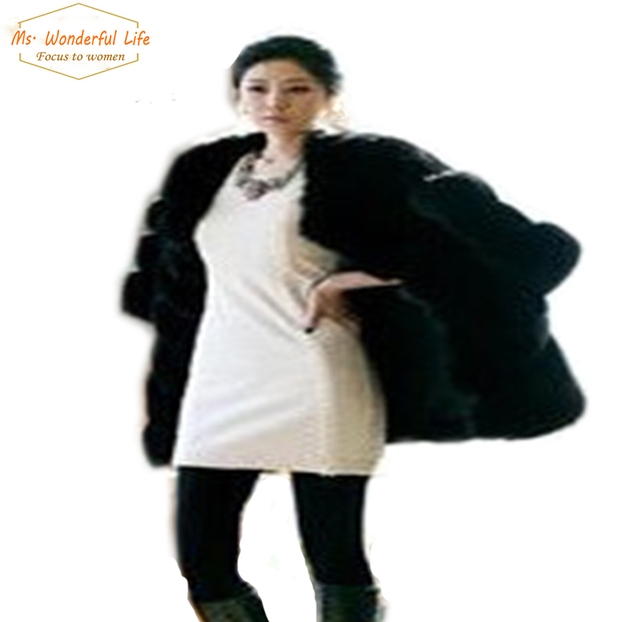 Фотография Women Plus Size Faux Fur Fox Coats Fake Rex Rabbit Jackets Black Thick Synthetic Fur Coat Capa Casacos Femininos De Pele Falso