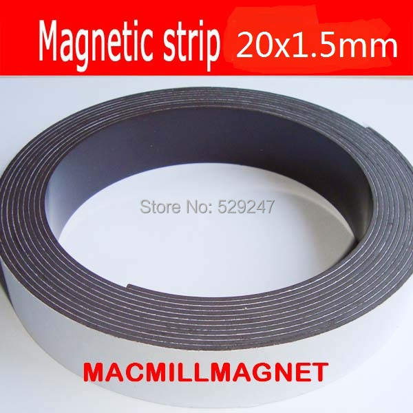 2 Meters Self Adhesive Flexible Magnetic Strip Magnet Tape Width 20x1.5mm Ad.magnet strip Education Rubber Magnet, Free shipping(China (Mainland))