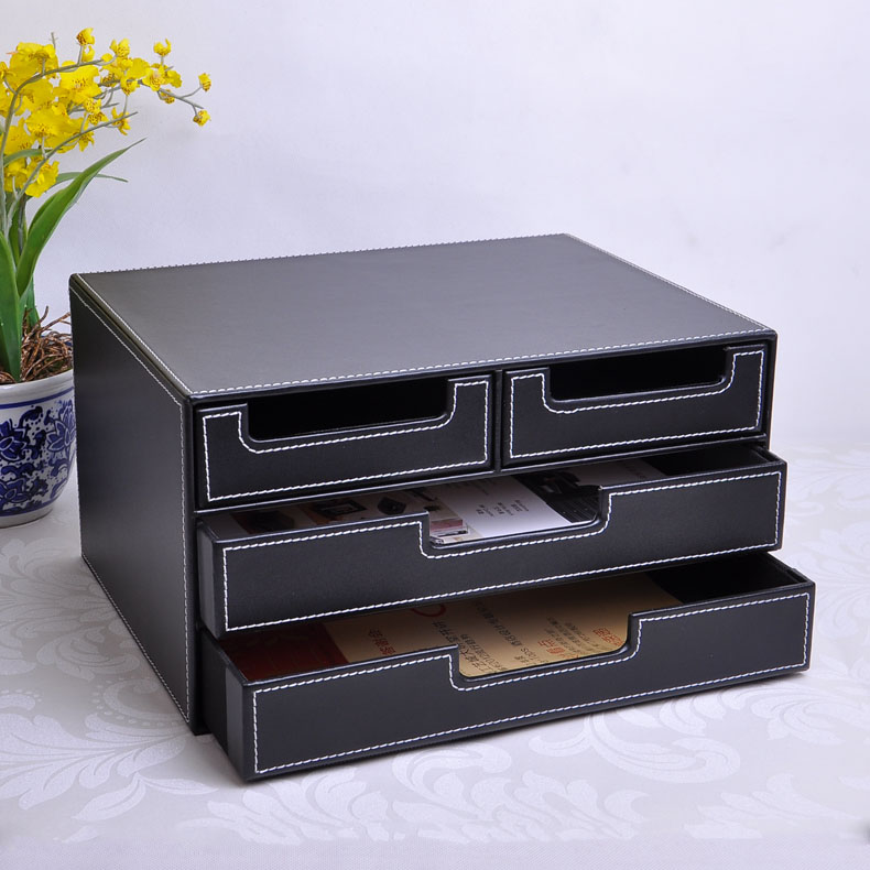 3 layer 4 drawer wood structure leather desk filing - Desk organizer box ...