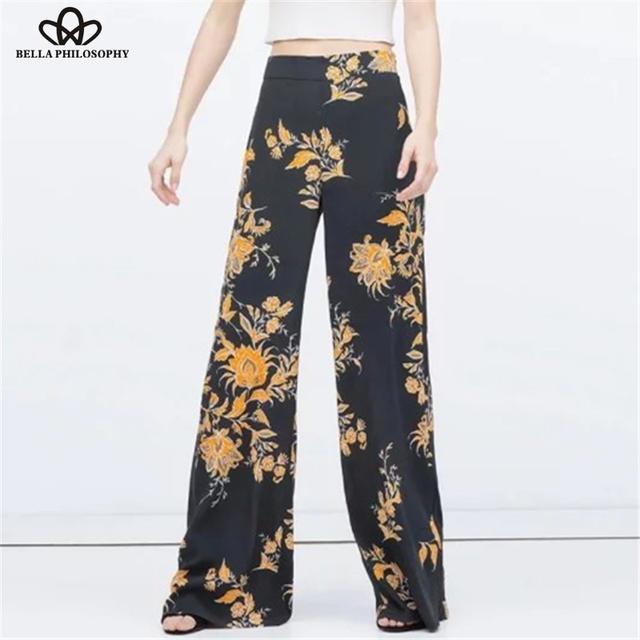 2015 весна лето новых женщин ретро урожай цветочные печати широкую ногу полная длина ...
