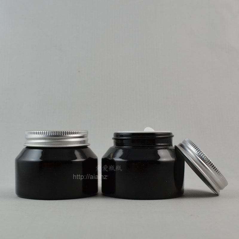 50pieces/lot High quality 50g shiny black cream jar with silver lid,cosmetic jar,glass jar or cream container,eye cream jar<br><br>Aliexpress