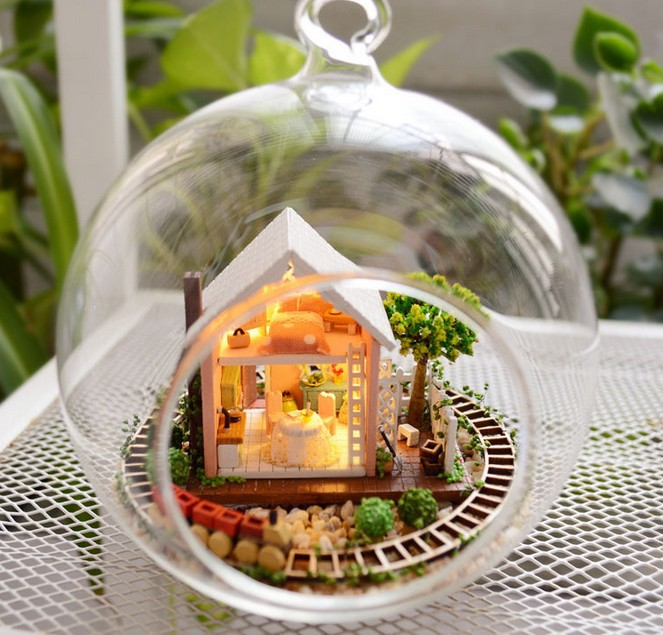 3pcs Enchanted Garden house miniature dollhouse glass diy doll house glass ball hand housing With LED lights Wholesale<br><br>Aliexpress
