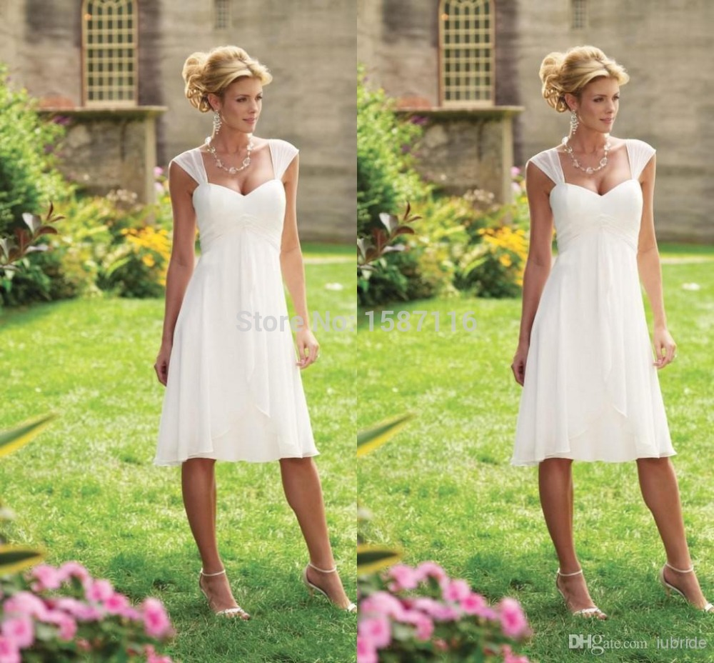 Simple summer beach wedding dresses white sweetheart cap for Short white summer wedding dresses